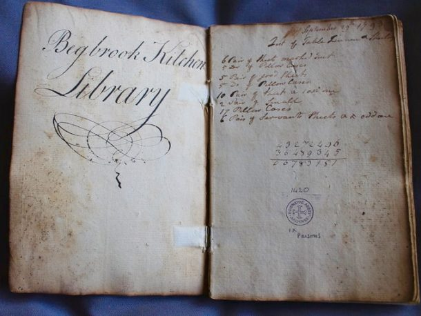Miss Windsor's Delectables - photo of Begbrook Kitchen Library - antique, Georgian, handwritten, cookery book - from Begbrook House, Frenchay, Bristol, England