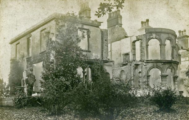 Miss Windsor's Delectables - photo of Begbrook House, Frenchay, Bristol - after it was destroyed by fire