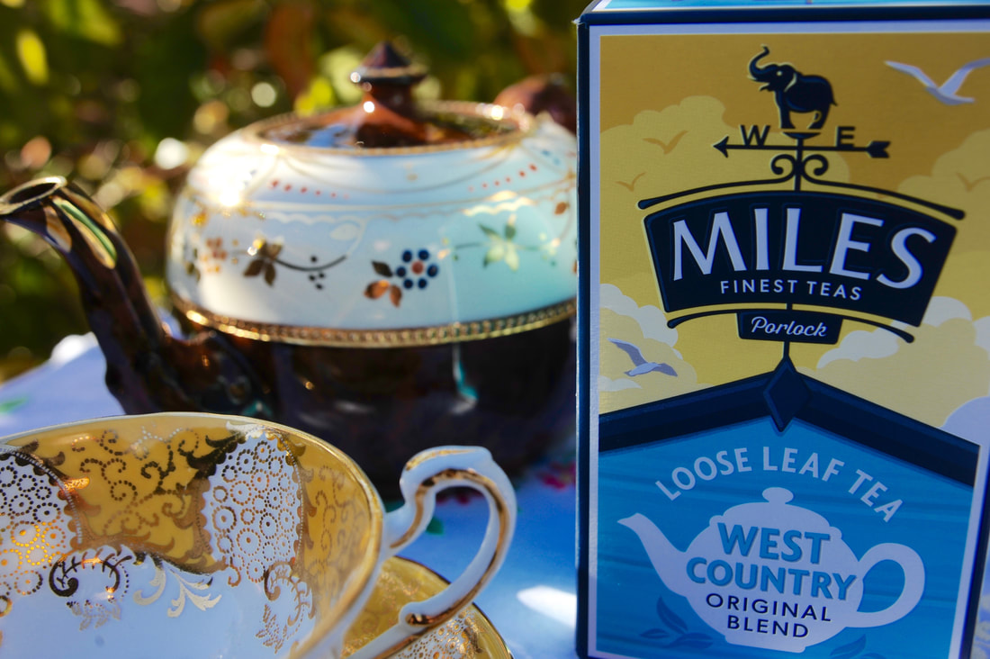 Miss Windsor's Delectables - vintage Brown Betty teapot, English bone chine cup n' saucer by 'Paragon', and Miles West-Country Original Blend Loose Leaf Tea!