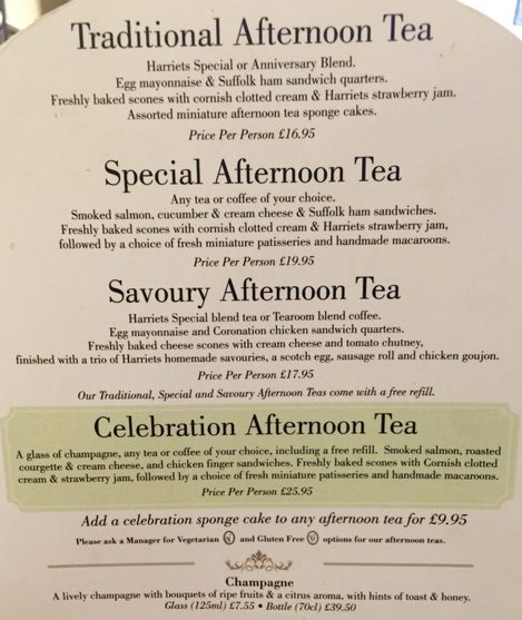 Miss Windsor's Delectables - Menu for Afternoon Tea - Harriet's Café Tearooms, Cambridge.
