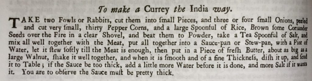Miss Windsor's Delectables - 1747 recipe by Hannah Glasse – 'To make a Currey the India way!'