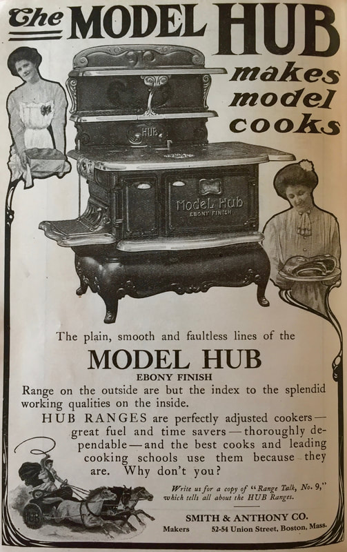 Miss Windsor: advert for The Model Hub Range Cooker - 1909 edition - The Boston Cooking-School Cook Book