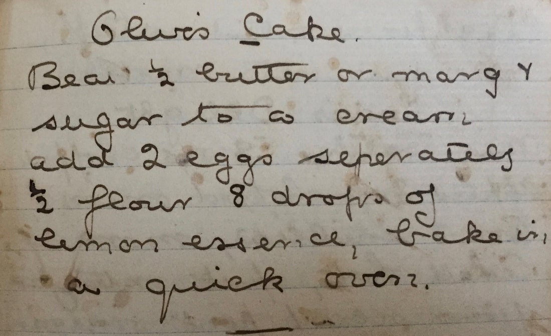 Miss Windsor: handwritten recipe for Olive's Cake!