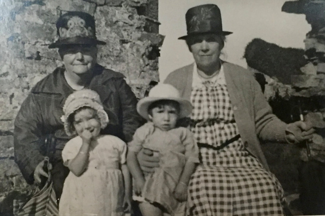 Miss Windsor: photo of Grandma Georgina (left) with grandchildren on day out in Clevedon, Somerset, England!