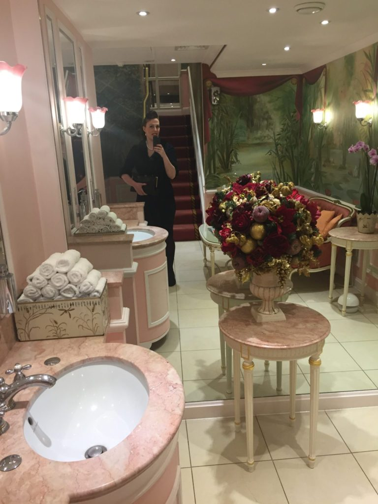 Miss Windsor's Delectables - Christmas Afternoon Tea at The Ritz, London. The 'ladies powder room'.