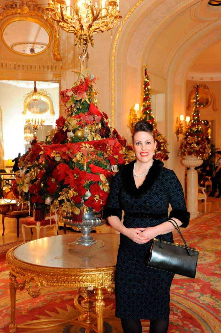 Miss Windsor's Delectables - Christmas Afternoon Tea at The Ritz, London. Vintage dress by Collectif.