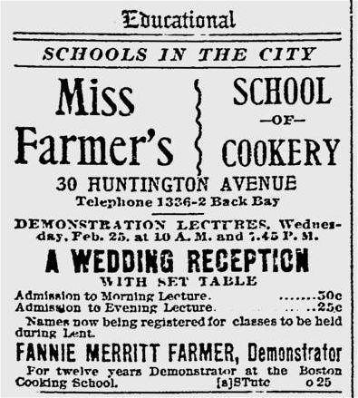 Miss Windsor: advert for Fannie Merritt Farmer's School of Cookery