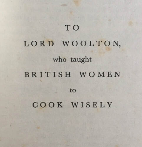 Dedication to Lord Woolton - Irene Veals' book - Recipes of the 1940's